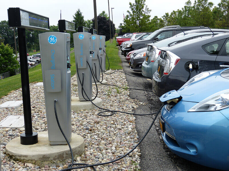 Electric vehicles charging at GE headquarters in New York.